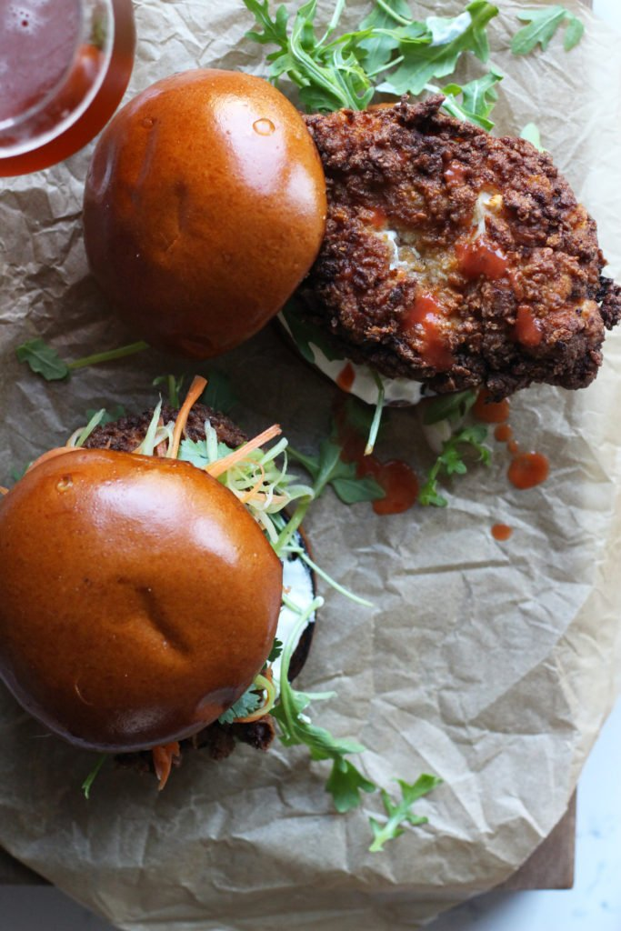 Buffalo Fried Chicken Sandwiches - Recipe by Honestly Yum
