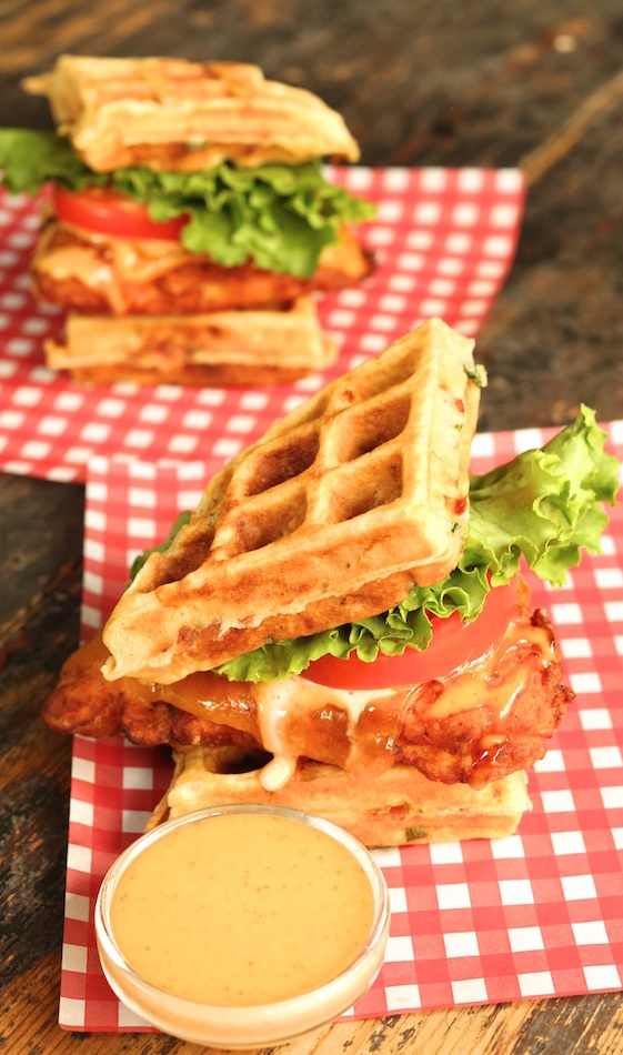Buttermilk Fried Chicken and Bacon Cheddar Waffle Sandwich - Cooking with Janica
