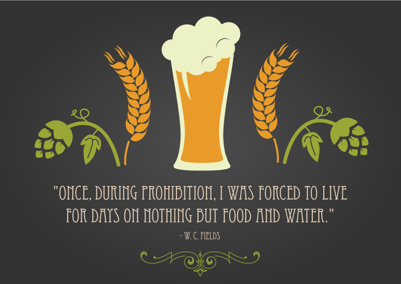 """""""Once, during Prohibition, I was forced to live for days on nothing but food and water."""" - W. C. Fields Quote for Beer and Food Pairing blog"""